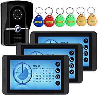 WXJWPZ 7 Inch Touch Screen Video Doorbell Telephone Intercom System Remote Unlock Night Vision Function Home Monitoring
