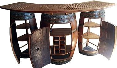 "MGP Oak Wood Wine Barrel Bar with 6 ft Teak Wood Foldable Bar Counter 72"" L x 24"" D x 42"" H"