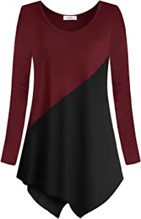 Women Tunic Tops Casual Color Block Long Sleeve T Shirts for Leggings