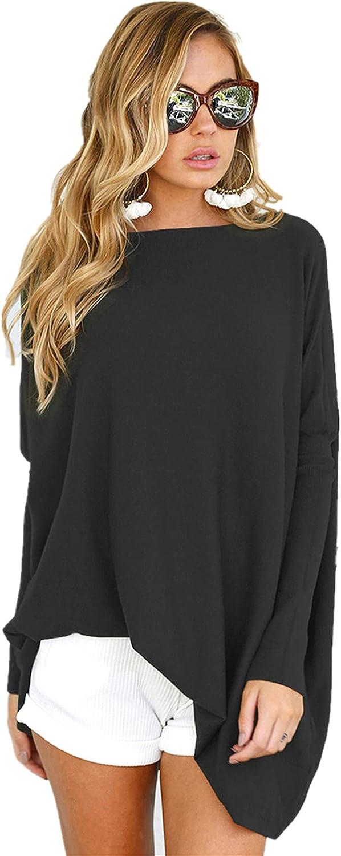 LETSRUNWILD Women's Tunic Tops for Leggings Oversized Shirts Casual Batwing Long Sleeve Loose Fall Tops Tunics