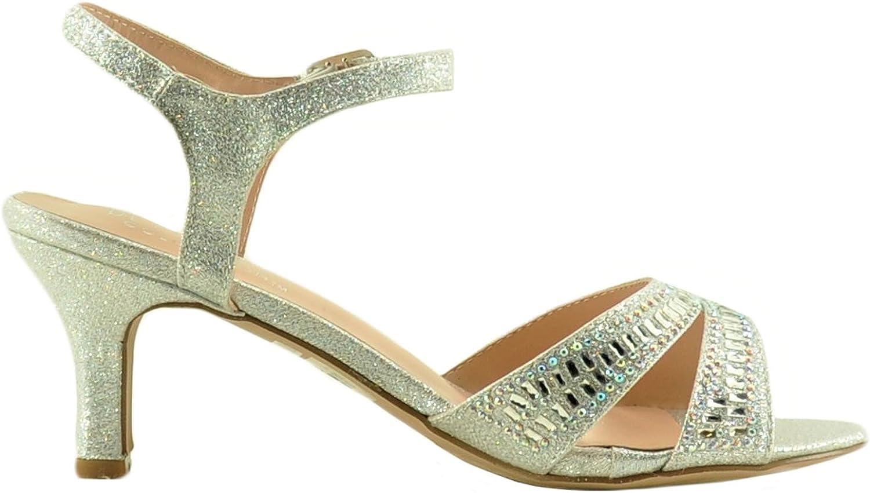 Blossom Crystal 32W Women's Open Toe Embellished Dress Heels