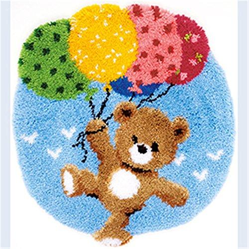 Beyond Your Thoughts Bär Knüpfteppich Formteppich für Kinder und Erwachsene zum Selber Knüpfen Teppich Latch Hook Kit Child Rug Bear 566 53 * 38 cm