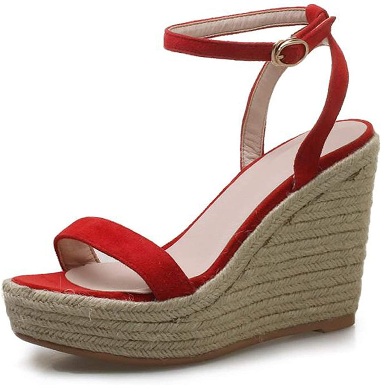 Hiviay Women Sandals Genuine Leather Wedges Round Toe Fashion Buckle Platform