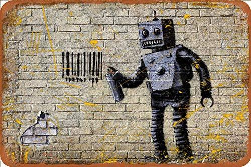 Banksy Barcode Robot Graffiti Stencil Street Cartel de chapa vintage, cartel de cartel de metal, placa de pintura de hierro retro, decoración de pared artística, 12 × 8 pulgadas