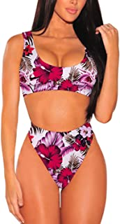 06ad164332 Pink Queen Women's Crop Top High Waisted Cheeky Bikini Set Two Piece  Swimsuits