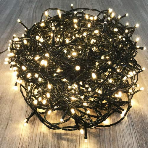 KAQ- 82FT 200LED Ultra-Bright Christmas String Lights Indoor/Outdoor (Extendable), Waterproof 8 Modes Green Wire Fairy Starry String Lights Plug in for Xmas Tree Garden Patio Wall Decor (Warm White)