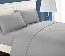 ALPHA HOME Bed Sheet Set - Soft Brushed Microfiber - Wrinkle, Fade, Stain Resistant (Grey, Queen)