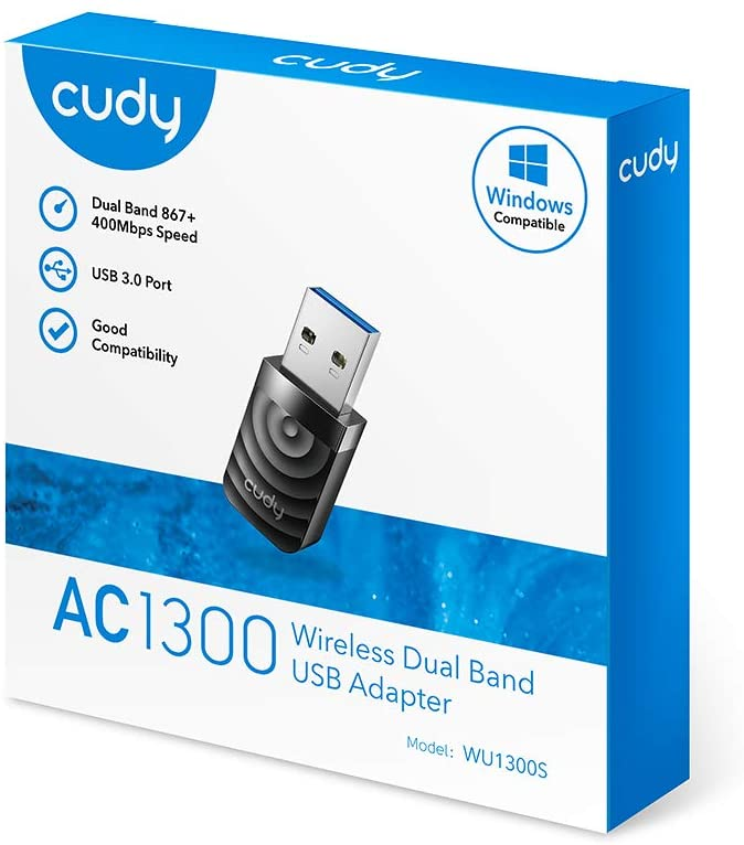 Cudy WU1300S AC 1300Mbps WiFi USB 3.0 Adapter for PC, USB WiFi Dongle, 5Ghz /2.4Ghz, WiFi USB 3.0, Wireless Adapter for Desktop/Laptop, Compatible with Windows 7/8/8.1/10, mac OS, Linux