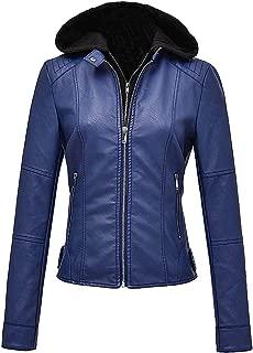 FEICUI Women's Removable Hooded Faux Leather Casual Short Jacket Moto Biker Coat