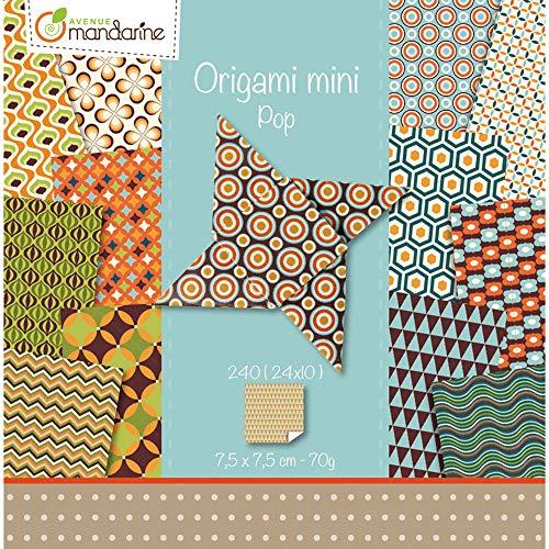 Avenue Mandarine 42688O Set (mit 240 Bögen Origami Mini, 24 Motive x 10, 7,5 x 7,5cm, 70g, beidseitig bedruck, ideal für den Faltspaß unterwegs, Pop) 240er Pack