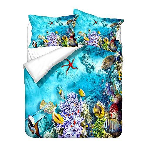 Sticker Superb Juego de Cama Animal Pez Modelo 3D Oceano Azul Coral Estrella de Mar Paisaje Funda Nórdica y Funda de Almohada, Ropa de Cama Niños Niño Niña Funda de Edredón (Rojo,150x200 cm-Cama 90)