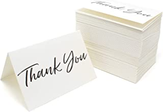 Thank You Cards and Envelopes Black Font White Card Stock - Bulk Box Set of 100 Notes For Weddings Graduations Baby Showers Birthdays