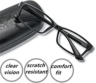 EyeYee Reading Glasses +4.25 Black- Rectangle Full Rim Anti Reflective Mens Womens Eyeglasses Readers Comfortable Stylish Glasses