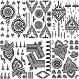 Rejaski 6 Sheets Symmetry Black Henna Temporary Tattoos For Women Girls, Large Lace Mehndi Tattoo Temporary Kits, Wedding Bridal Hena Fake Jewels Tatoo Sticker Hands, Mandala Lotus Tatto Adults Sets