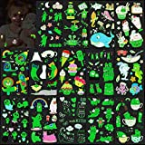 Konsait Temporary Tattoos for Kids, 100+pcs Glow In The Dark Mixed Style Cartoon Tattoo, Luminous Ice Cream Cake Rainbow Shark Sea Animal Rocket Cats Fake Tattoo, Boys Girls Party Favor Supplies