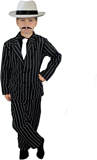 a82b6a6907f682 CHILDS 1920's GANGSTER FANCY DRESS COSTUME - BLACK PINSTRIPE SUIT - JACKET,  TROUSERS + WHITE