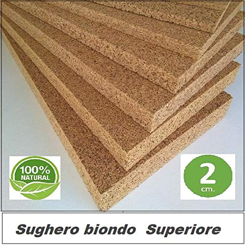 FUTURAZeta - Lastre in Sughero naturale biondo, Qualità Superiore, spessore 2 cm. (25 pannelli) densità maggiorata, isolamento termico e acustico.