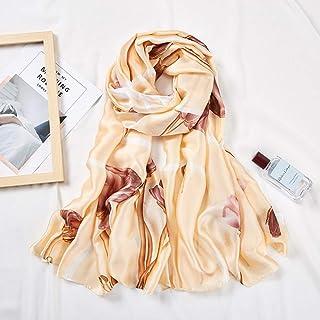 MLDSJQJ Blumendruck Schals Schal Für Frauen Rosa Khaki Seide Hijab Schals 180  90 cm Halstuch Wraps Stola Schals Für Damen