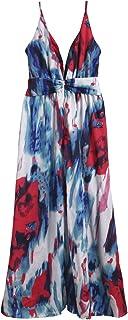 فستان كاجوال طويل بدون اكمام وبقبة على شكل حرف V متعدد الالوان ومطبوع بنقشة زهور للحفلات والصيف