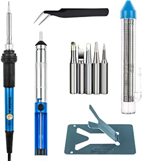 Vastar Soldering Iron Kit, Full Set 60W 110V Soldering Welding Iron Kit - Adjustable Temperature, 5pcs Different Tips, Desoldering Pump, Stand, Anti-static Tweezers and Additional Solder Tube
