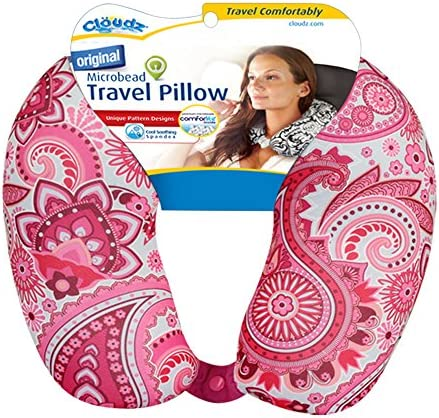 Cloudz Patterned Microbead Travel Neck Pillows Pink Print product image