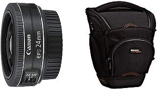 Canon Pancake EF-S 24 mm f/2.8 STM - Objetivo para Canon Distancia Focal 24 mm Apertura f/2.8 Negro + AmazonBasics - Funda para cámara de Fotos réflex Color Negro