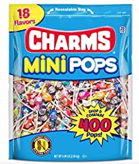 Charms Mini Pops features 18 delicious flavors to choose from, making it a crowd favorite Assorted flavors include Strawberry, Banana, green apple, cherry, Blue Razz, strawberry Lemonade, orange, grape, watermelon, tropical fruit Punch, Bubble Gum, b...