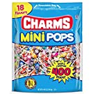 Charms Mini Pops 18 AssortedLollipopFlavors with ResealableBag (400 Count)Peanut Free, Gluten Free, Perfect for Halloween