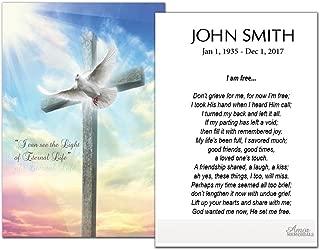 Funeral Memorial Prayer Cards (50 Cards) FPC1210EN Cross and Dove (Custom Printed - Select Desired Prayer)