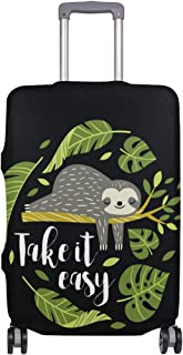 Mydaily Cute Sloth Palm Leaves Luggage Cover Fits 18-32 Inch Suitcase Spandex Travel Baggage Protector