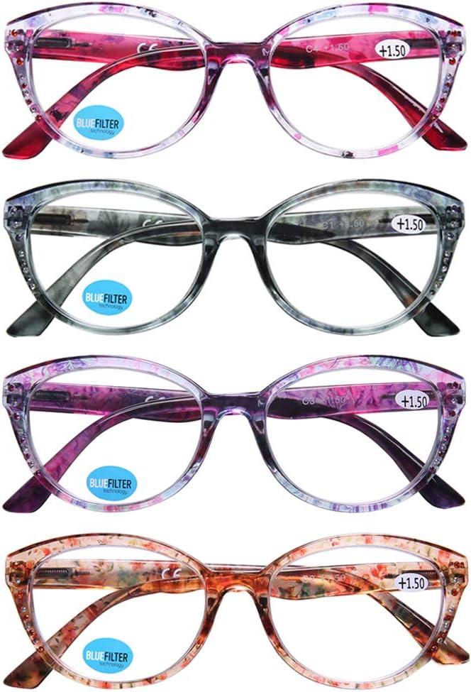 DOOViC 4-Pack Blue Light Blocking Anti Fixed Ranking TOP19 price for sale Reading Glasses Eyestrain