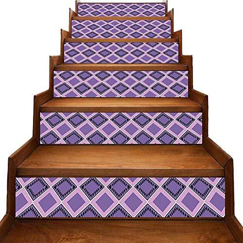 JiuYIBB - Adhesivo decorativo geométrico de PVC respetuoso con el medio ambiente, diseño de arlequín con pequeñas cruces en colores pastel y diseño de mosaico tradicional, multicolor