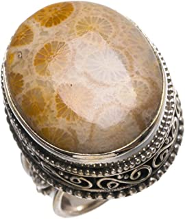 Natural Fossil Coral Antique Design Handmade Boho 925 Sterling Silver Ring, Size 7 T5619