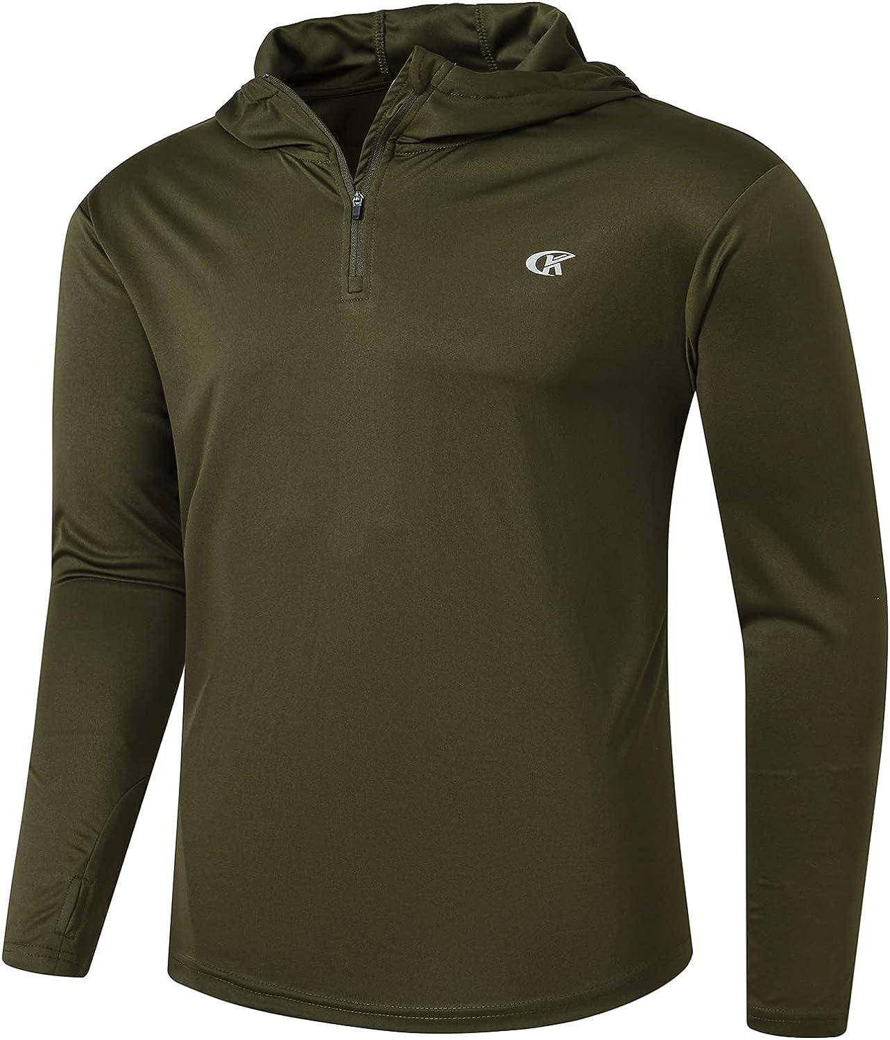Satankud Men's UPF 50+ Sun Protection 1/4 Zip Long Sleeve Thumb Hiking Fishing Shirt
