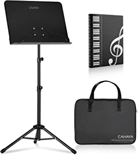 CAHAYA Sheet Music Stand Metal Portable Solid Back with Carrying Bag, Sheet Music Folder, Projector Stand, Laptop Stand, Bible Book stand