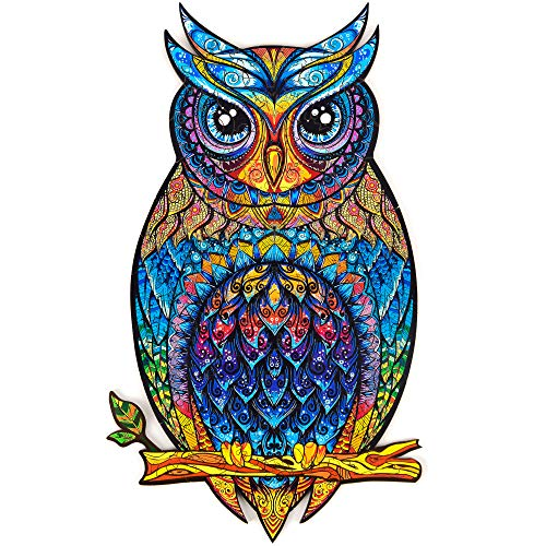 Unidragon Wooden Jigsaw Puzzles - Unique Shape Jigsaw Pieces Best Gift for Adults and Kids Charming Owl 5.9 × 10.2 in (15 × 26 cm) – S