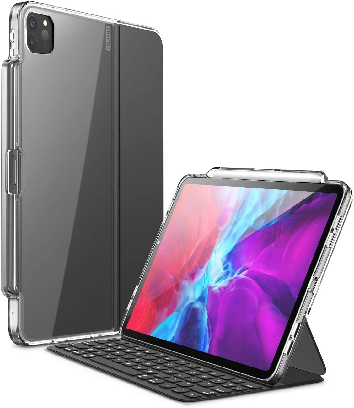i-Blason Halo Series Case for New iPad Pro 11 Inch (2020/2018 Release), [ONLY for use with Smart Keyboard Folio; Compatible with Official Smart Folio] Clear Protective Case with Pencil Holder, Clear