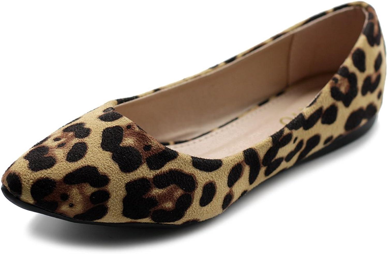 Ollio Womens Ballet Comfort Light Faux Suede Multi color shoes Flat ZM1038 (8 B(M) US, Leopard)