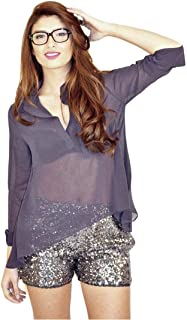Hipster Ob2Cn-L Casual Shirt For Women - L, Navy