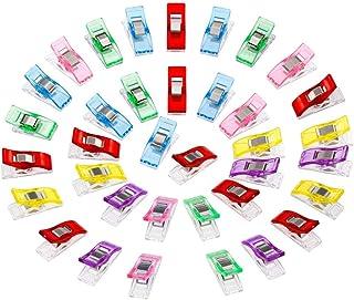 Anpro 60PCS Clips Pinces DIY Pince 2.7 * 1.0 * 1.5cm en ABS pour Reliure Couture Artisanat 6 Couleurs Rose,Rouge,Bleu,Jaun...