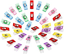 Anpro 60PCS Clips Pinces DIY Pince 2.7 * 1.0 * 1.5cm en ABS Reliure Couture Artisanat 6 Couleurs Rose,Rouge,Bleu,Jaune,Violet,Vert