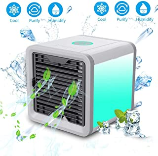 ZhangHai Climatizador Evaporativo USB 3 En 1 Ventilador Aire Acondicionado Humidificador Y Purificador Air Cooler Fan 3 Velocidades para Hogar Oficina Acampada