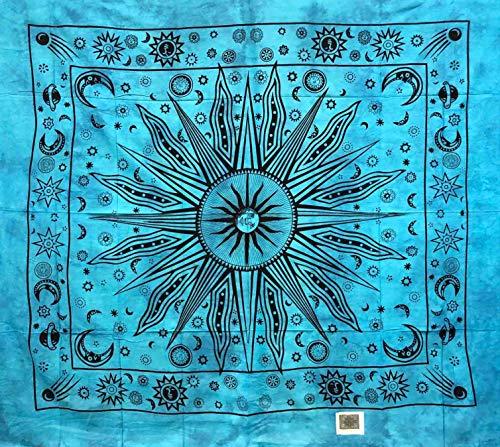 Telo Arredo Copritutto Grande Etnic Sun 210x230 cm 100% Cotone Indiano Stampato Copri divano Gran foulard con Frange Batik Indiano (Azzurro)