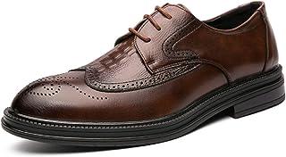 Zapatos casuales Zapatos de Oxford de los hombres, tela en relieve de cuero de cuero de la PU de la vendimia, tablero de p...