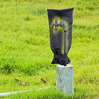 Outdoor Faucet Cover, Water Faucet Cover Socks for Winter, 210D Oxford Cloth Insulatd Cotton Pouch, Anti-Frozen & Waterproof, Against Rain and Snow Winter Freeze Protection(20''x 7.5'' / 1 Pack Black)