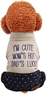 MEANIT Pet Clothes for Small Dog Cat Winter Coat Jacket Warm Pullover for Teddy, Pug, Chihuahua, Shih Tzu, Yorkshire Terriers