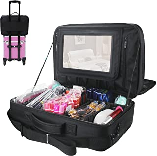 Relavel 3 layer MultiFunctional Professional Makeup Train Case Super Large Makeup Bag Organizer for Brush Hair Curler Salon Nail Beauty Tool Attach to Trolley with Mirror for Travel Black 17.7 inches