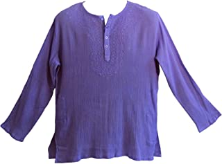 Mens Indian Purple Bohemian Crinkled Gauze Cotton Embroidered Tunic Shirt Kurta