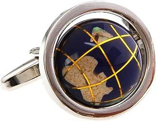 أزرار أكمام MRCUFF خريطة العالم الأرض يدور حقًا في صندوق هدايا وقطعة قماش تلميع