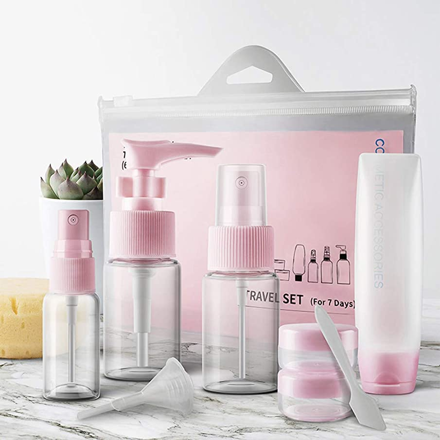 WYKsoku 9Pcs Portable Travel Cosmetic Liquid Perfume Lotion Container Sprayer Bottle Set - Pink